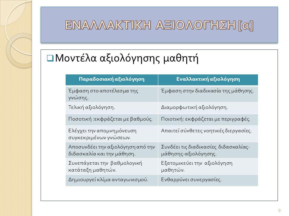 ΕΝΑΛΛΑΚΤΙΚΗ ΑΞΙΟΛΟΓΗΣΗ [α]